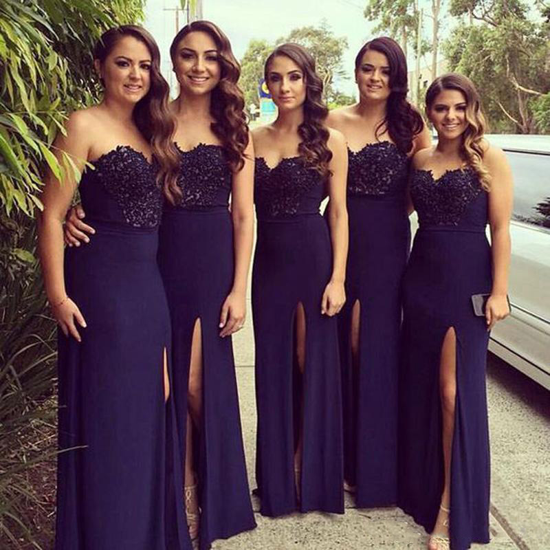 Navy Blue Mermaid   Bridesmaids     Dresses   2019 Long Elegant African   Bridesmaid   Maid of Honor Gown Wedding Party Guest   Dress