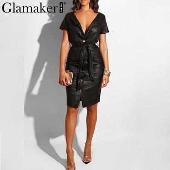 5da9ac26c527259 Glamaker искусственная кожа с v-образным вырезом сексуальное облегающее платье  женское Высокая талия с поясом