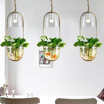 Modern Glass Hanglamp Creative Suspension Flower Pot Pendant Light For Kitchen Island Dining Room Bedroom
