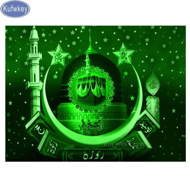פסיפס תמונה יהלומי רקמת המוסלמי קליגרפיה בניין מלא כיכר עגול יהלומי ציור צלב תפר הודי דתות