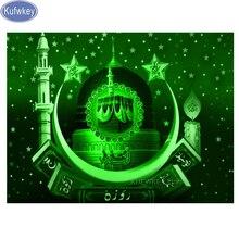 Mozaik resim Elmas Nakış Müslüman Kaligrafi bina Tam Kare yuvarlak Elmas Boyama Çapraz Dikiş Hint dinler