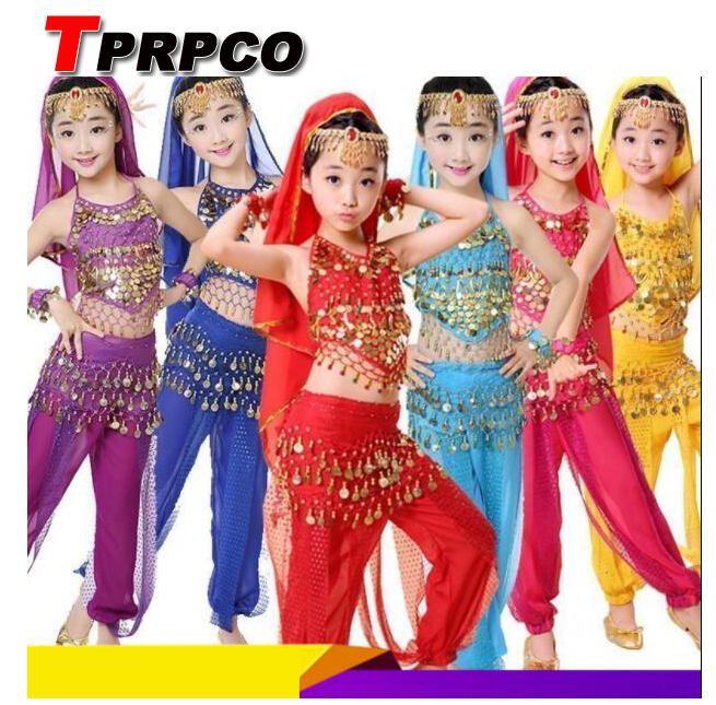TPRPCO 7Pc/Set Handmade Children Belly Dance Costumes Kids Belly Dancing Girls Bollywood Indian Performance Cloth Whole Set 1591