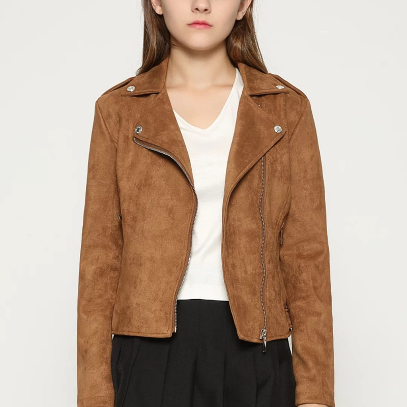 2018 Autumn Fashion Women   Suede   Motorcycle Jacket Slim Brown Full Lined Soft Faux   Leather   Coat Veste Femme Cuir Epaulet Zipper