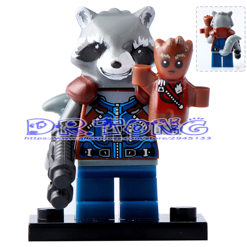 DR.TONG Building Blocks PG154 Rocket Racoon Super Heroes Guardians of the Galaxy Figures Diy Toys Children Gifts PG8044