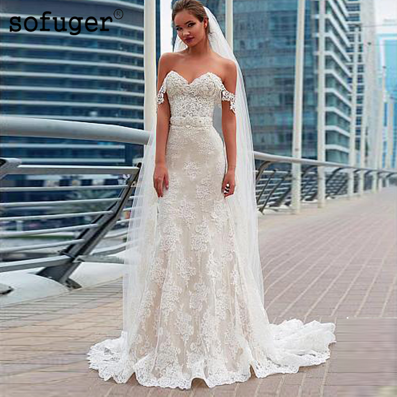 2019 Fabulous Lace Wedding Dress Sweetheart Off The Shoulder Beading Belt Mermaid Bridal Gowns Appliques Robe De Mariee
