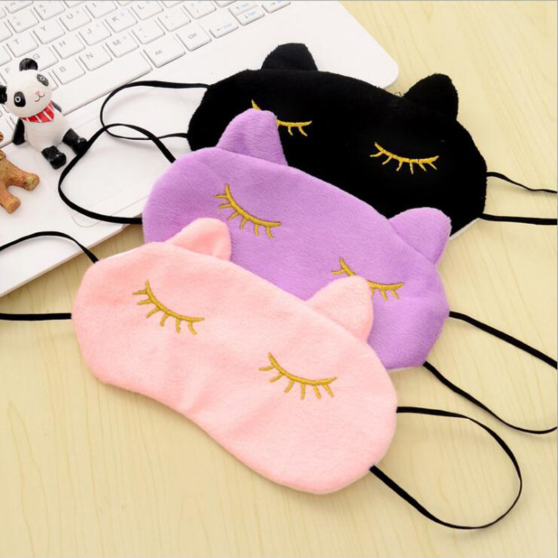 27pcs/lot Cute Cartoon shy cat design velvet Sleep eye mask Well Rest Normal Eyeshade Hot Sale Protection cover MR086 lovely travel nap cartoon crown long eyelashes eyeshade sleep mask