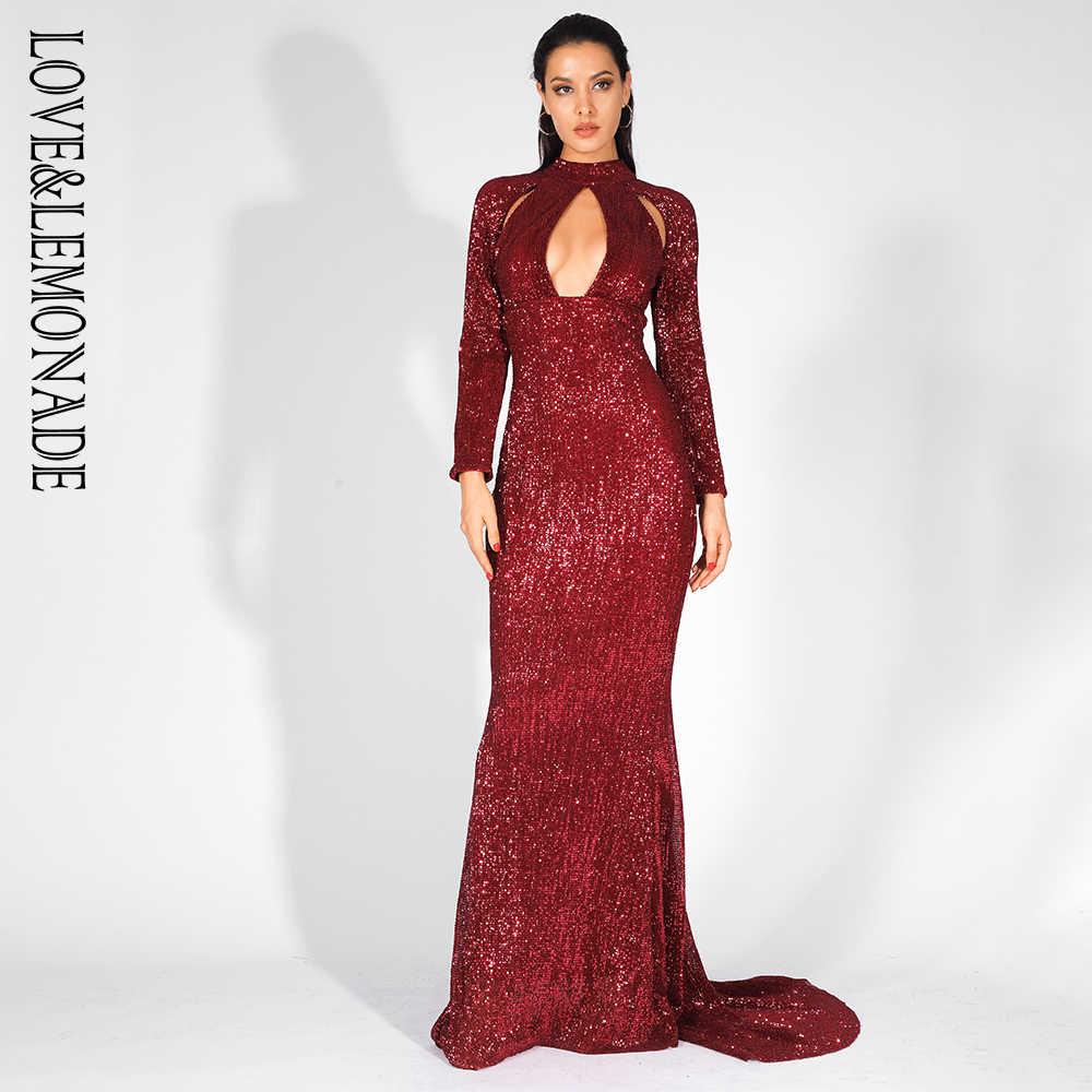e14688dbc79 Длинное платье с вырезами и эластичными блестками Love   Lemonade  LM81525WINERED