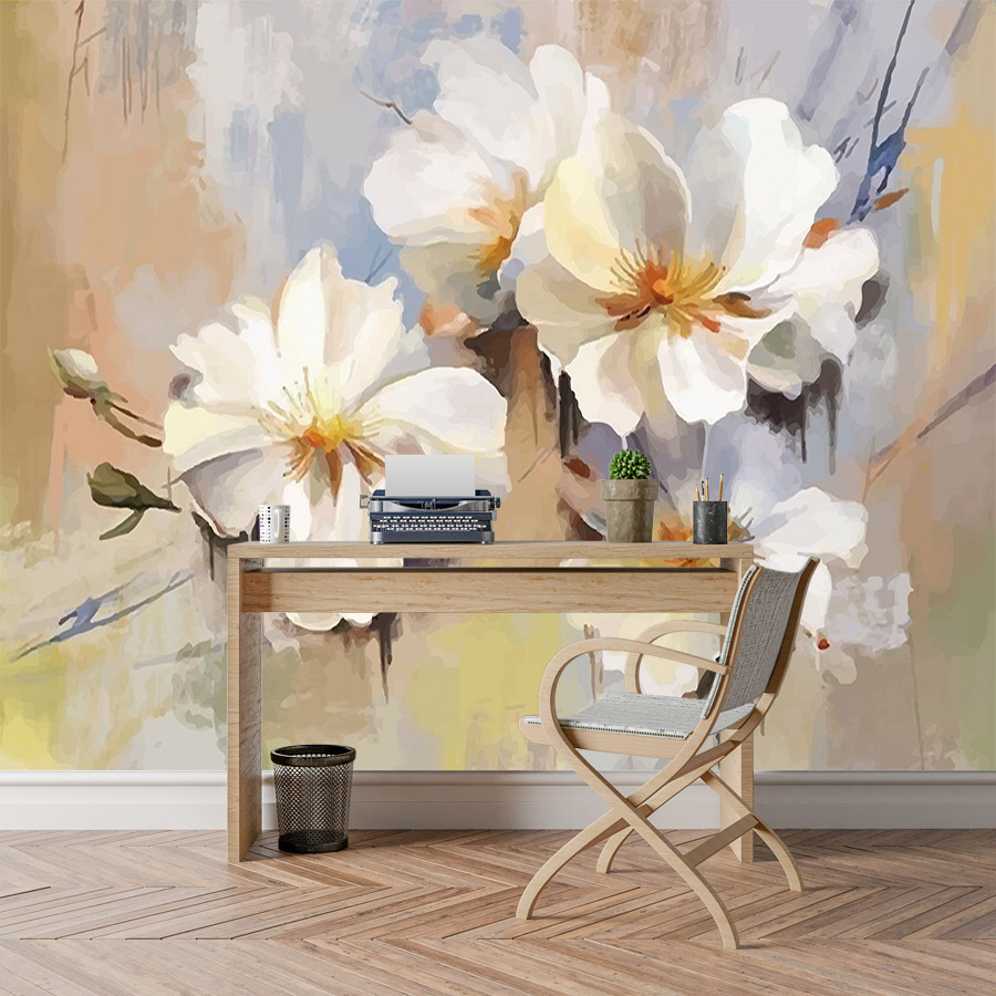 Shinehome Modern Floral Blossom Painting Wallpaper 3d For Walls