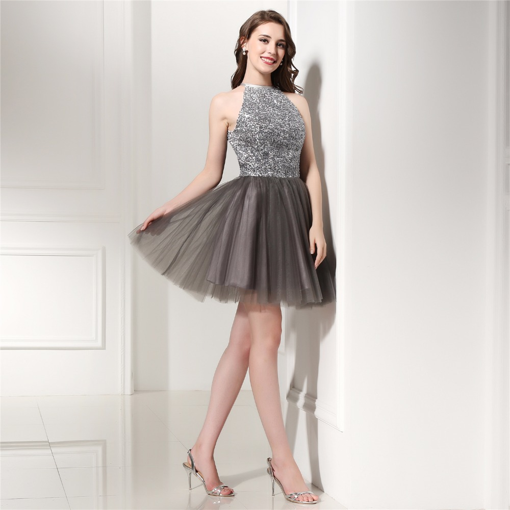 Glitter Crystal in Stock   Cocktail     Dresses   Sky Blue Tulle High Neck Short Prom Gown For Graduation Homecoming Party   Dress
