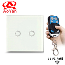 aoyan Manufacturer, Touch Switch, AY-Y602- with LED indicator,Golden Glass Panel, 110~250V, 2-gang, UK/EU standard