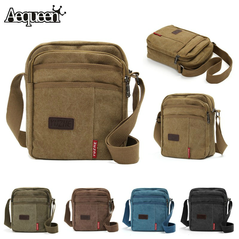 Vintage Canvas Men s Crossbody Bag Shoulder Messenger Bags Handbag Male Casual Outside Travel Zipper Bolsa
