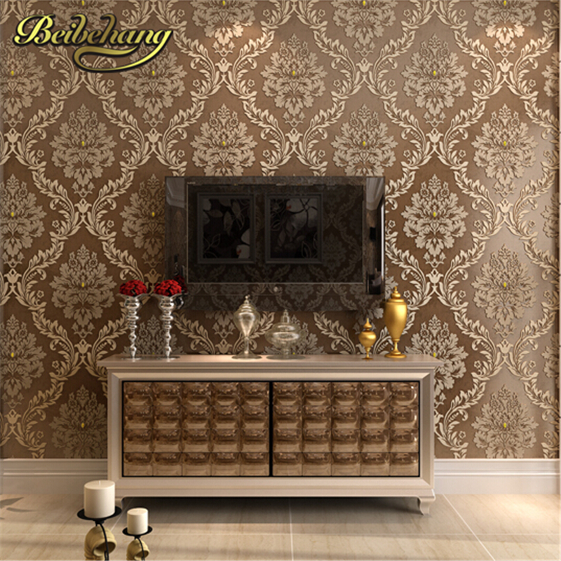 ФОТО beibehang Europe Style Luxury Diamond High-grade Non-woven Wallcoverings Damascus Bedroom Tv Sofa Background 3d Papel De Parede