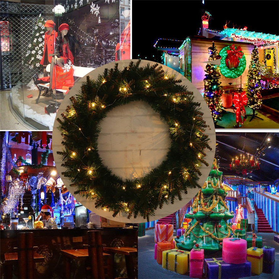 Us 9 54 36 Off Hanging Christmas Wreath 1pc 30 40 50cm Diy Led Hanging Wreath Christmas Decoration Wall Ornament Garland 2m Light String 30 In