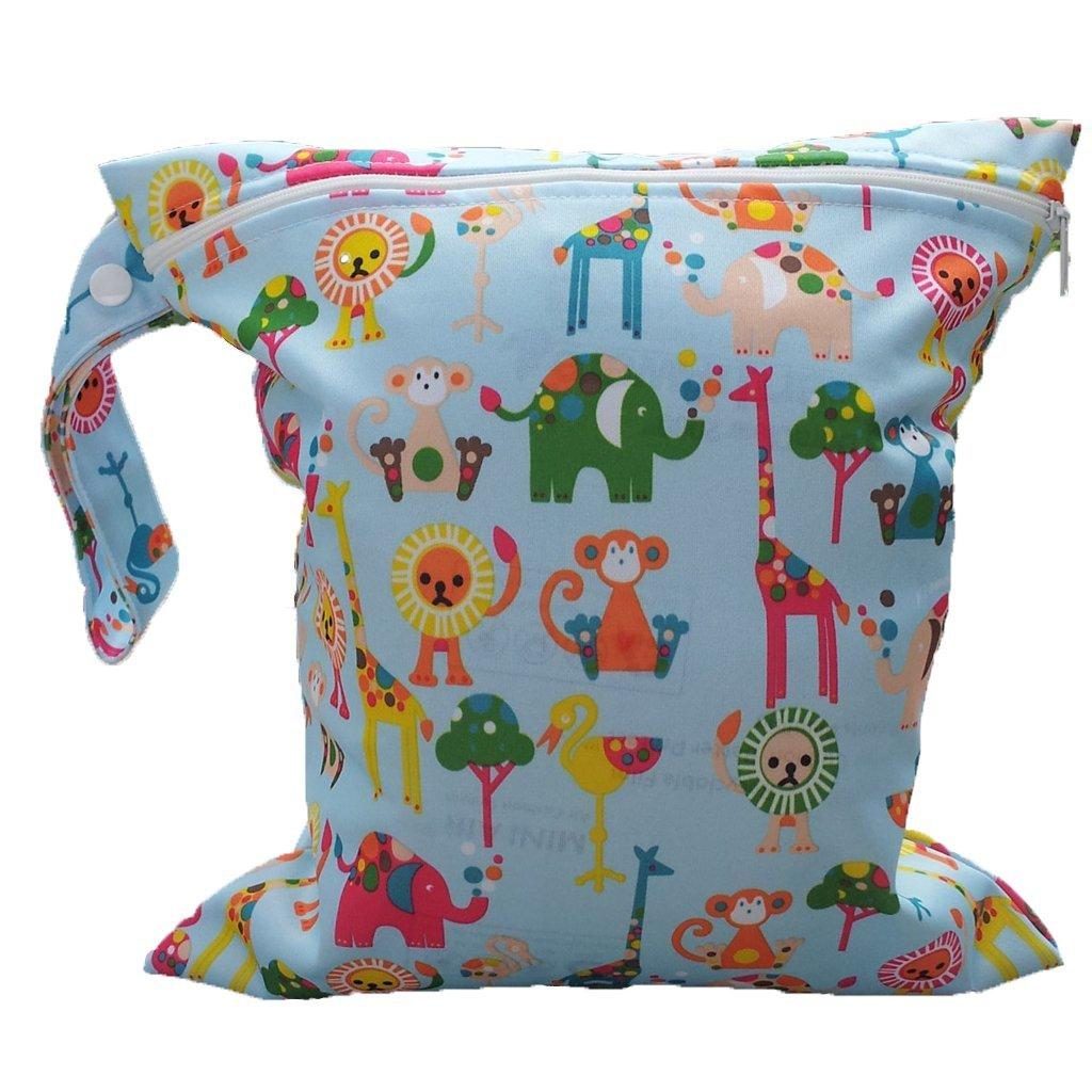 LCLL-Baby Infant Waterproof Zipper Reusable Cloth Diaper Bag (Multi Animal Pattern Light Blue)
