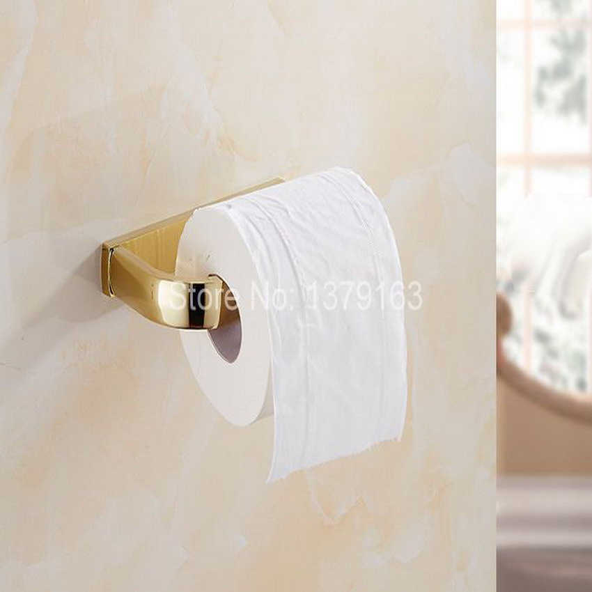 Bathroom Accessories Luxury Polished Gold Color Brass Wall Mounted Toilet Paper Roll Holder Bathroom Fitting Aba848