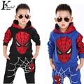 2017 marvel comic classic spiderman niño con traje de juego de los deportes 2 unidades set chándales de los muchachos que arropan los sistemas coat + pant para 3-7 años