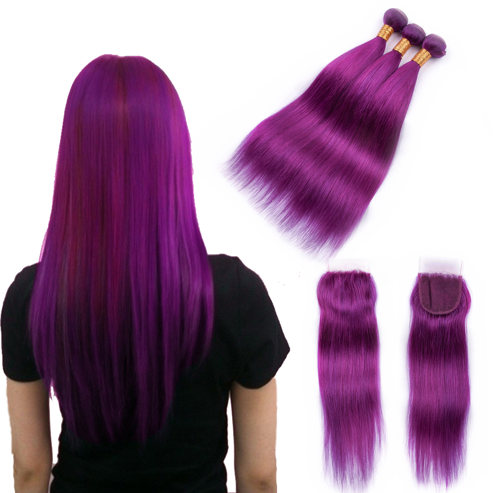 Beaudiva Blue Hair Bundles with closure Brazilian Straight Human Hair Weave 3 Bundles with Closure Remy Hair Weft with Closure