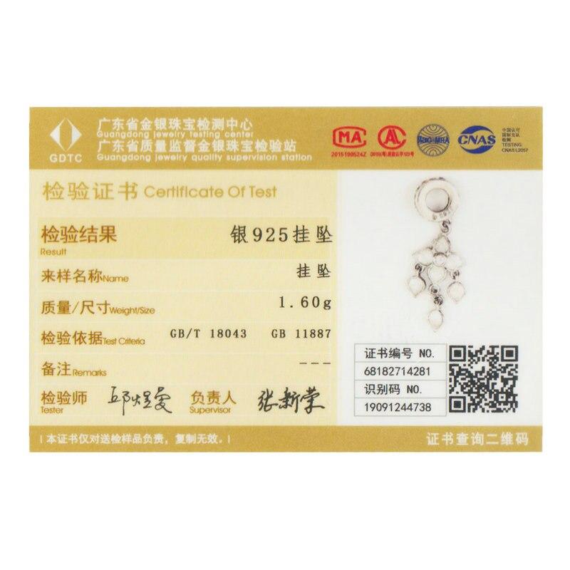 BAMOER Romantische 925 Sterling Silber Weiß Orchidee Clover Blume Charms Anhänger fit Original Armbänder Halsketten Schmuck BSC024