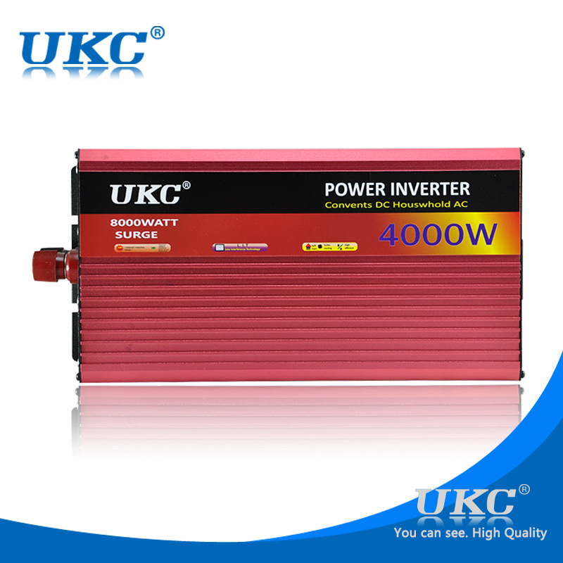 UKC 4000W 12V DC to AC 220V Car Power inverter for freezers, microwave ovens, electric kettle, electric drill, cutting machine