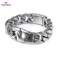 Stainless Steel Charm Buddha Bracelets Men Punk Style Metal Man Bracelets Bangles Wristband Homme Jewelry