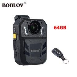 BOBLOV 64GB cámara de cuerpo WA7-D IP67 32MP cámara de Video HD Mini Comcorder 170 Degree Ambarella A7 GPS Politie Camara guardia de seguridad