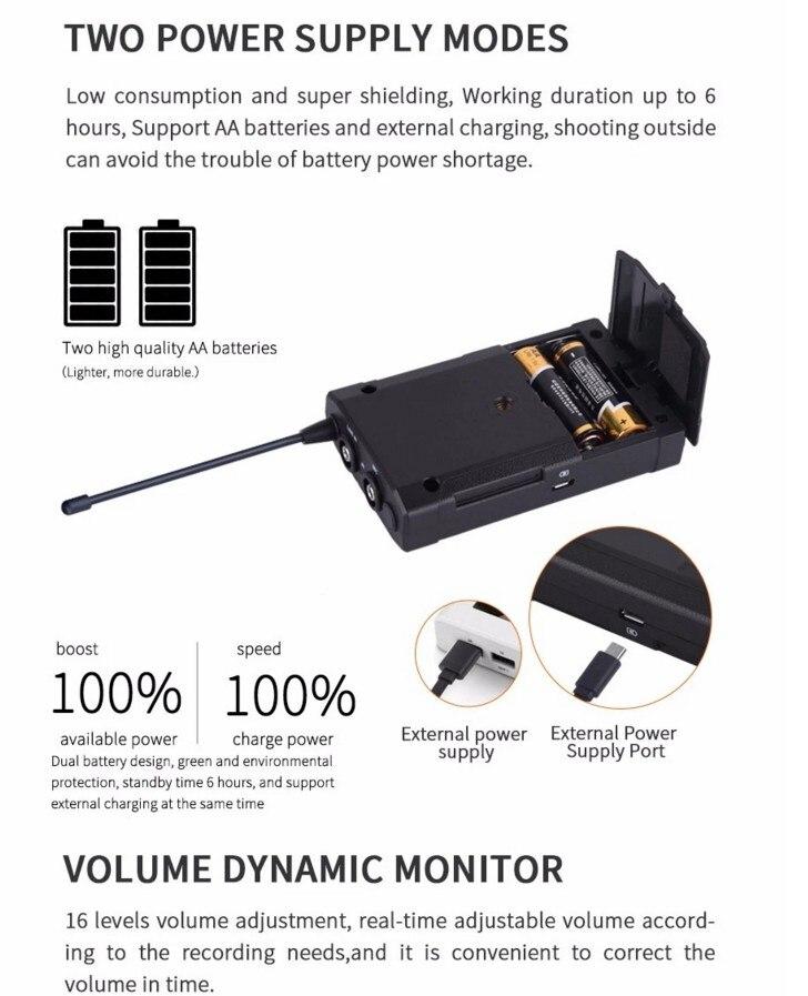 UHF 48 Canais Mono Microfone Para Câmera