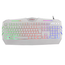 Gamer Profesional Gaming 104 Kunci Keyboard Kabel USB Diterangi Colorful LED Backlight Multimedia PC Gaming Keyboard # A(China)