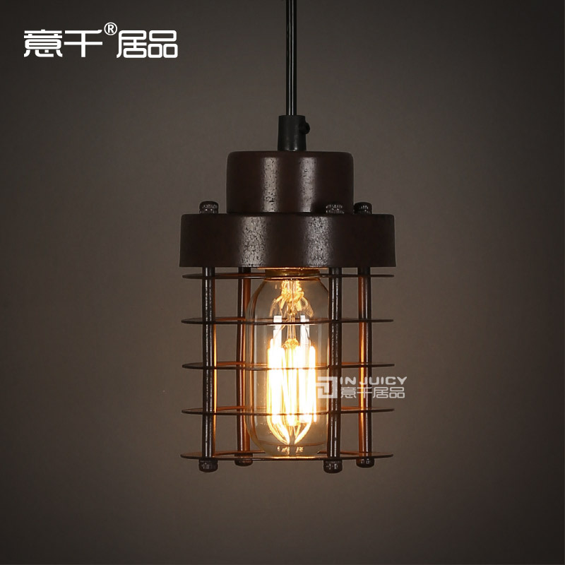 Loft Vintage Industrial Cage Wrought Iron Edison Pendant Lamp Lights Fixtures for Cafe Store Balcony Hall Club Shop Black Rust 32cm vintage iron pendant light metal edison 3 light lighting fixture droplight cafe bar coffee shop hall store club