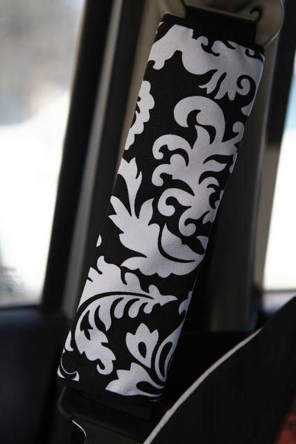 Personalizada lienzo de tela de algodón de la flor de loto asiento Auto del cinturón de seguridad cubre decoración del coche 2 unids - blanco