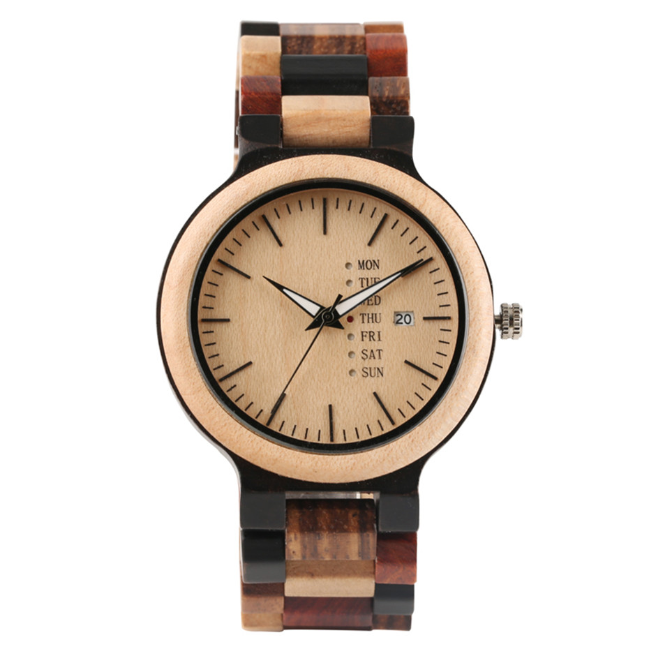 Antique Zebra and Ebony Men and Women Wood Watches with Date and Week Display Business Clock in Wooden for Lovers Gifts