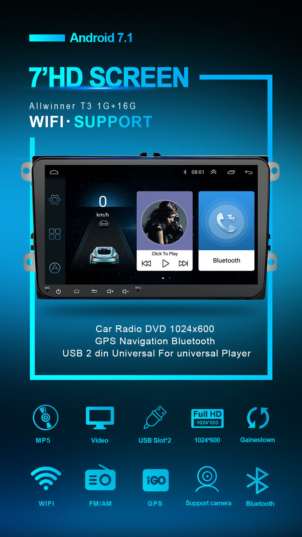 Car DVD GPS android 7.1 Player 2din radio universal Wifi GPS Navigation Audio For Skoda Octavia Fabia Rapid Yeti Superb VW Seat (21)