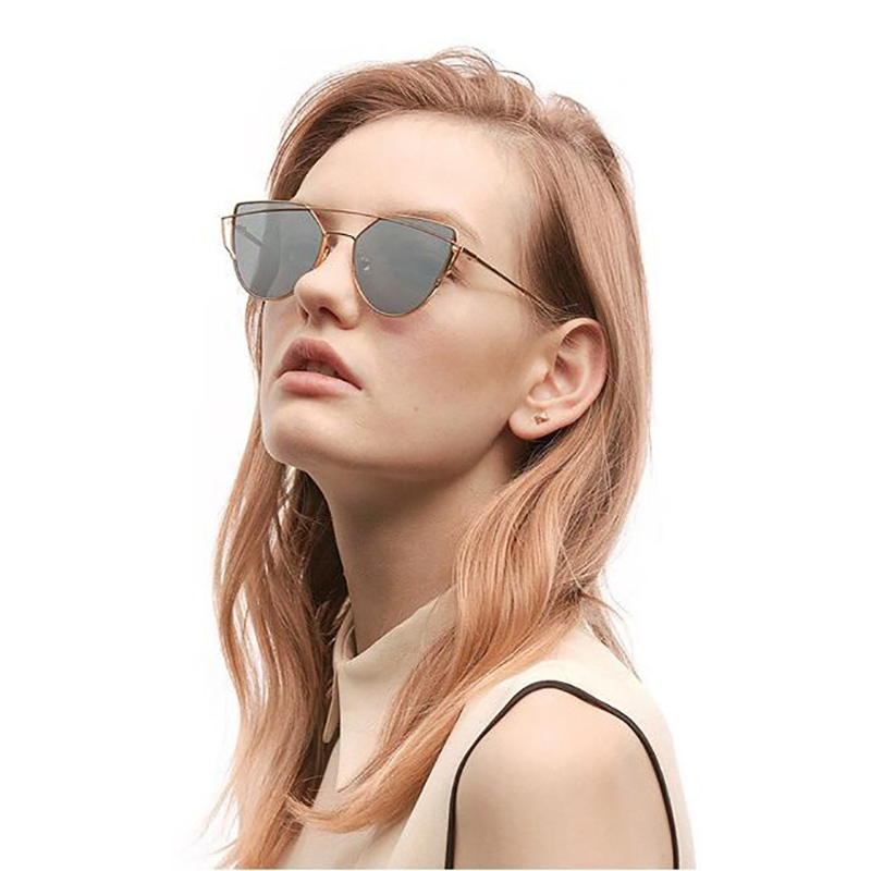 e61a59a4ff Vintage Mirror Lens Stylish Flat Women Panel Cat Eye Sunglasses Classic  Brand Designer Twin Beams Tint Sunglasses UV400 Oculos-in Sunglasses from  Apparel ...