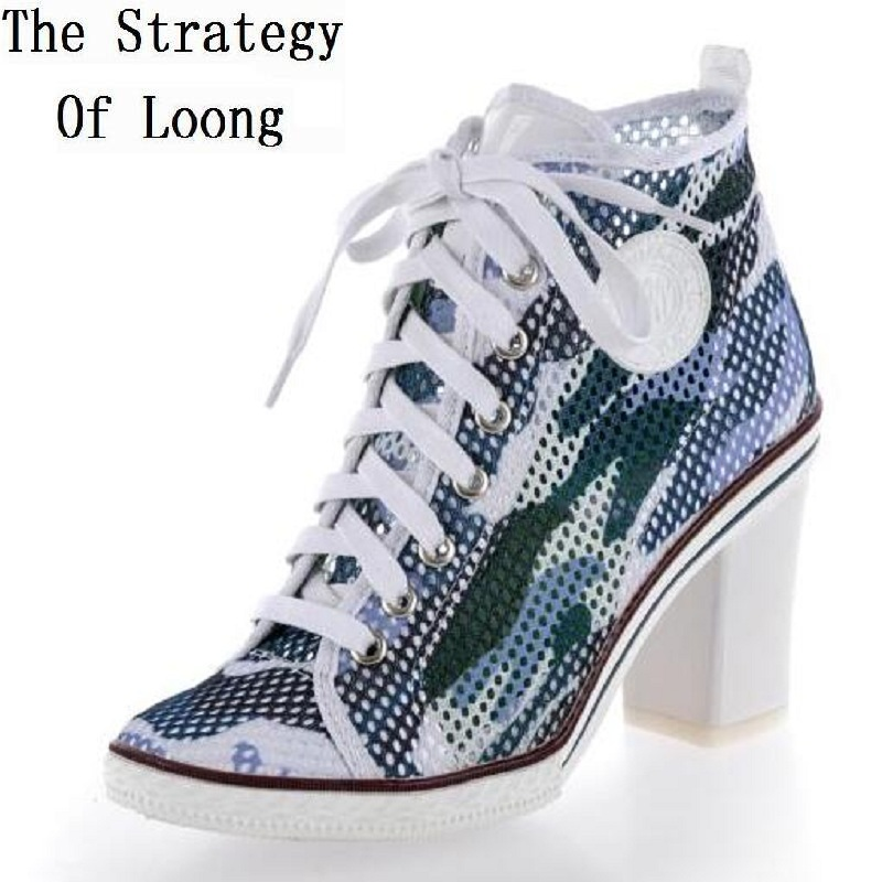 Europe America Style Women Summer Thick High Heel Gauze Breathable Lace Up Round Toe Fashion Casual Shoes Size 34-40 SXQ0710 dreambox summer leisure trends in europe and america mesh breathable shoes set foot thick soled shoes
