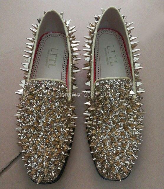 178213e146cf Black Red Blue Green Sliver Gold Fashion Flat Dress Shoes Man Shiny Glitter  Spiked Loafers Men Rivets Studded Mens Wedding Shoes
