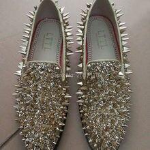 Black Red Blue Green Sliver Gold Fashion Flat Dress Shoes Man Shiny Glitter Spiked  Loafers Men 78c9c5e3444b