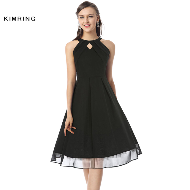 5f45d7e9427 Kimring Summer Plus Size Dress Hepburn Style 50s 60s Sexy Unique Cutout  Cocktails Elegant Robe Retro