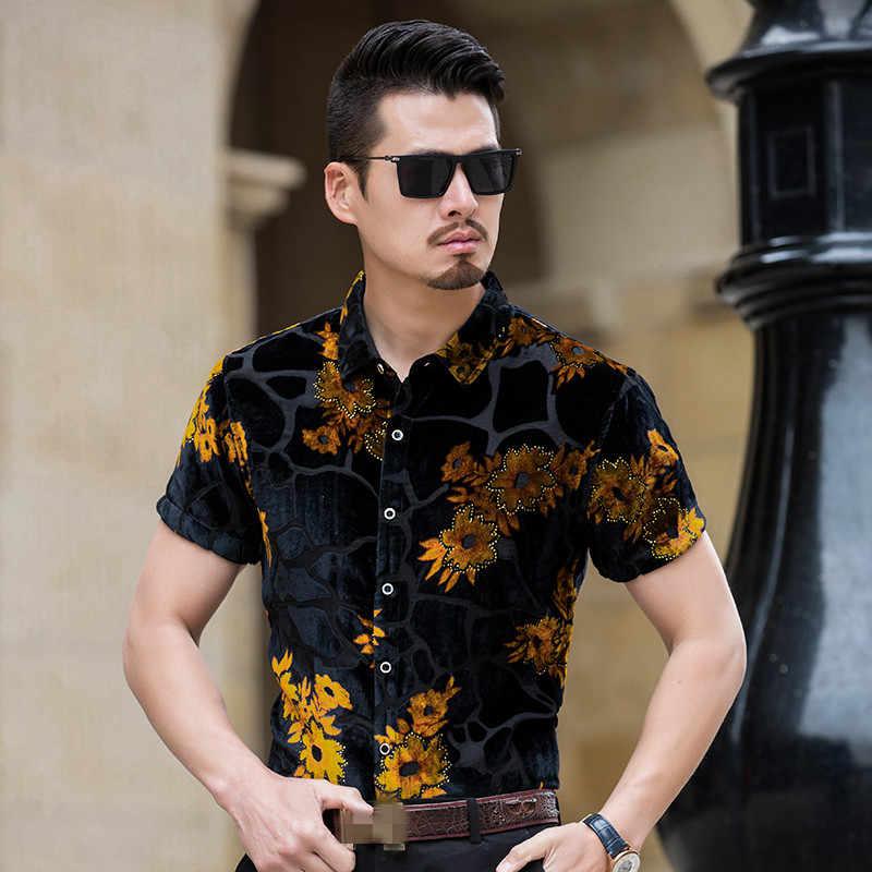 ZONORLEEC 2019 nueva camisa de manga corta para hombre de verano estilo chino hollow impreso camisa casual para hombre