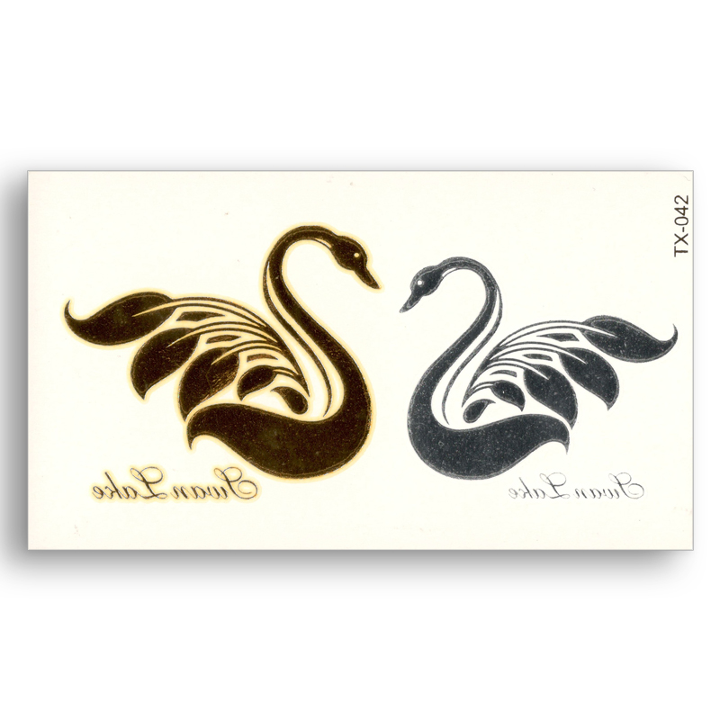 Swan Lake Temporary Fake tattoo Metallic Gold Sliver Waterproof Stickers Women Water Transfer Flash glitter beauty Body Art