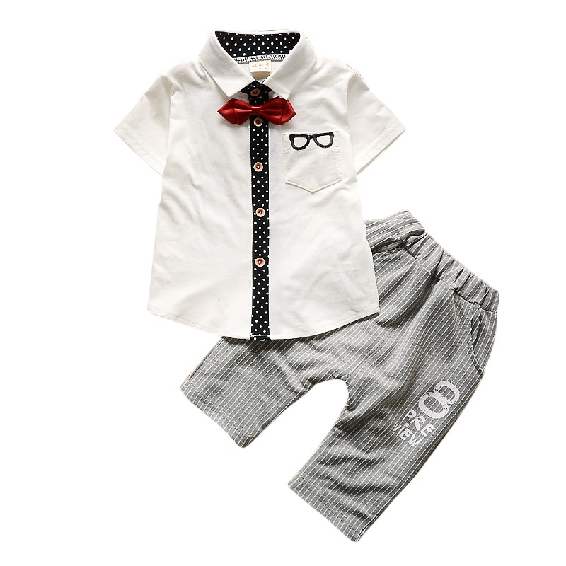 High Quality Baby Clothing 2018 Spring Cute Baby Boys Set Glasses Tie Print Short Sleeve Tops Shirt+Long Pants for 0-4 Y Kids