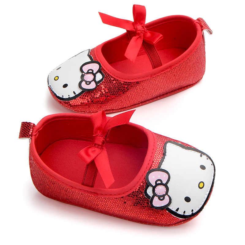 a8b3826d8374 ... Newborn Toddler Mary Jane Kids Girls Cute Hello Kitty Cat Prewalker Infant  Bow-Knot Dance ...