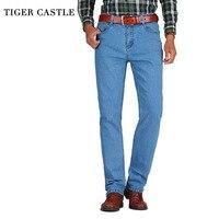 TIGER CASTLE Cotton Male Classic Baggy Jeans 2017 Men Black Fashion Overalls For Men Designer Vintage