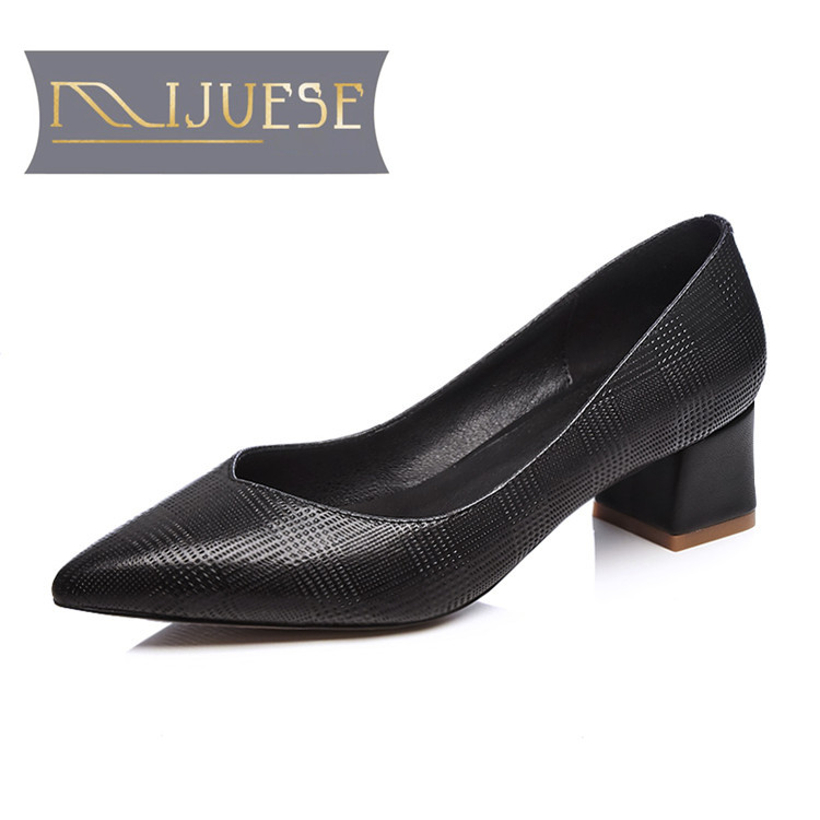 MLJUESE 2018 women pumps Genuine leather slip on pointed toe Black color square heel high heels women size 34-42 nayiduyun women genuine leather wedge high heel pumps platform creepers round toe slip on casual shoes boots wedge sneakers
