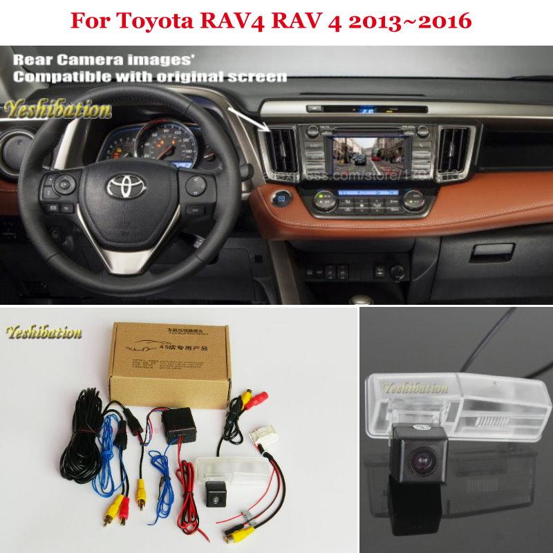 HD Vue Arrière de Voiture Back Up N ° Caméra Ensembles Nuit Vision pour Toyota RAV4 RAV 4 2013 ~ 2016-RCA et Écran D'origine Compatible
