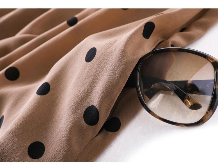 Femmes Dots imprimer longue robe 100% soie crêpe décontracté longues robes pour femmes sans manches a ligne 2019 été imprimé robes kaki-in Robes from Mode Femme et Accessoires    3