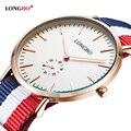 Longbo army men sports relojes de pulsera analógico de la otan de nylon correa de reloj de ginebra de cuarzo reloj de 80255