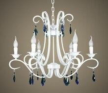 Multiple Chandelier style pastoral blue crystal lamps bedroom living room hanging lighting fixtures  Lights