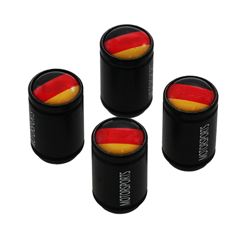 HAUSNN 4Pcs/Set Germany Flag Black Alloy Polish Car Wheel Tire Valve Caps Auto Tyre Air Stem Cap For VW Benz BMW Volkswagen