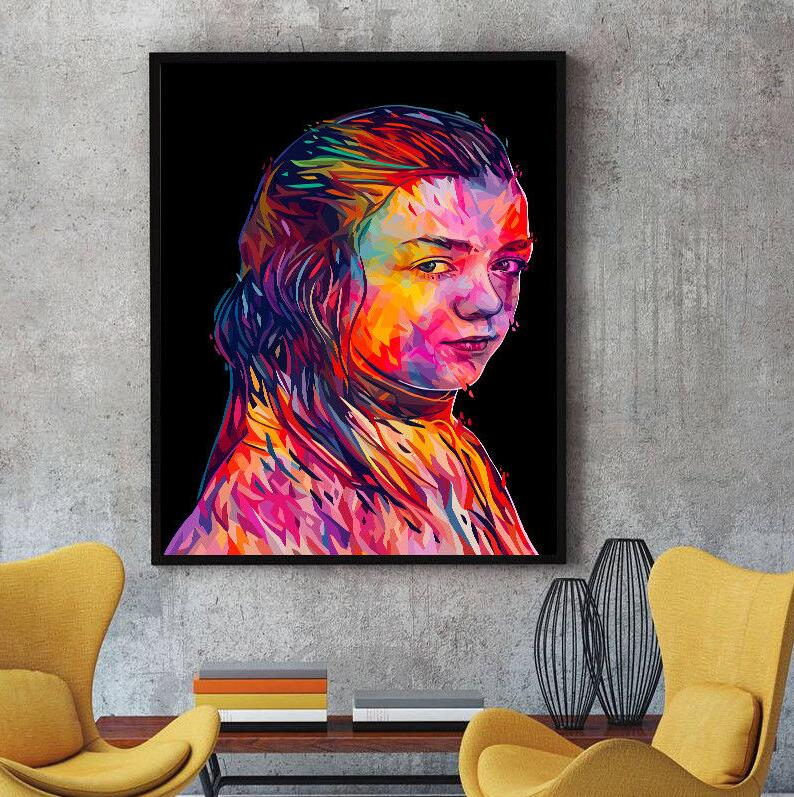 Unframed Modern Abstract Monkey  Oil Painting Canvas Colorful Orangutan Huge Wall Decoration