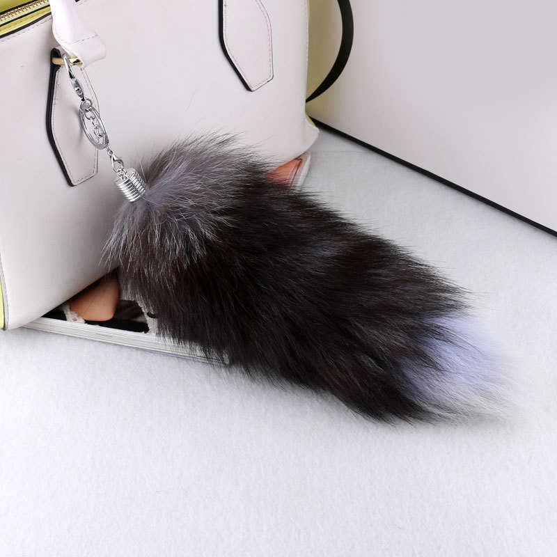 eee1c1bf48ef ... 1PC Fox Tail Keychain Faux Fox Fur Keychain Hot Large Wolf Tail Fur  Tassel Bag Tag ...