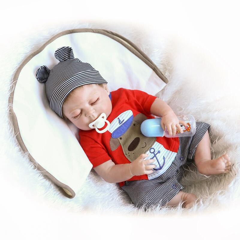 57 см Силиконовые BABY ALIVE BABY born Кукла реборн Куклы с бутылочки Соски с одежда полосатые штаны шляпа Игрушечные лошадки для обувь для девочек Об